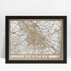 Mapa de madera de Albacete decoración