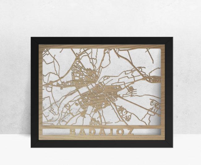 Mapa de madera de Badajoz decoración