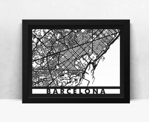 Mapa de madera de Barcelona decoración