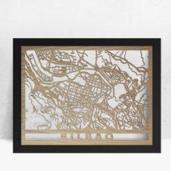 Mapa de madera de Bilbao decoración