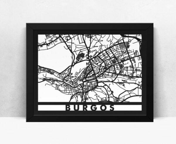 Mapa de madera de Burgos decoración