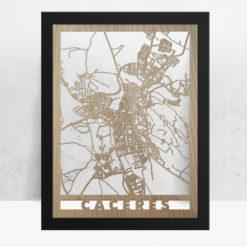 Mapa de madera de Cáceres decoración