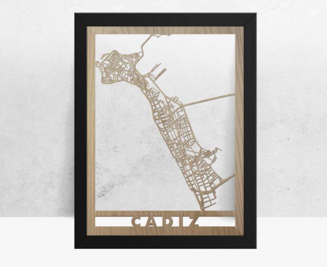 Mapa de madera de Cádiz decoración