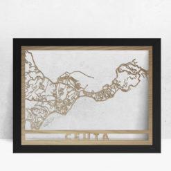 Mapa de madera de Ceuta decoración