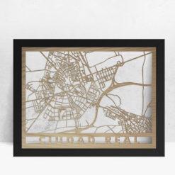 Mapa de madera de Ciudad Real decoración
