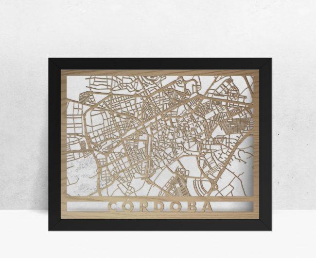 Mapa de madera de Córdoba decoración