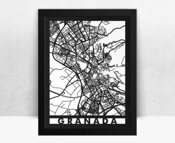 Mapa de madera de Granada decoración