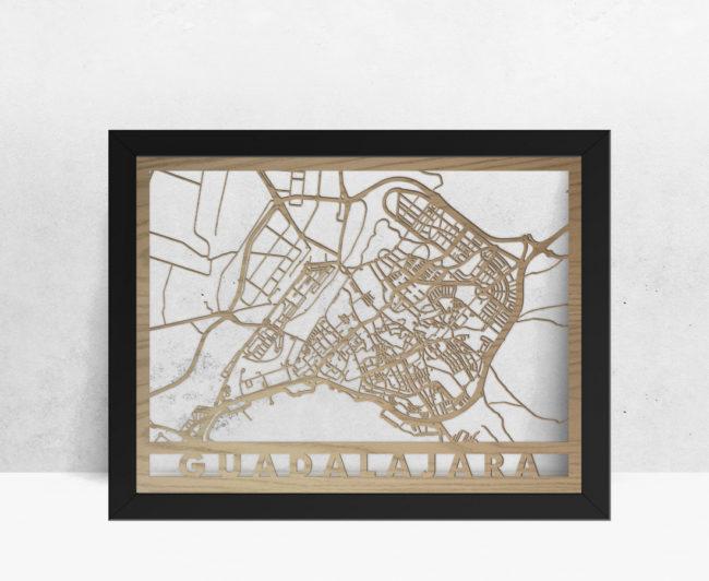 Mapa de madera de Guadalajara decoración