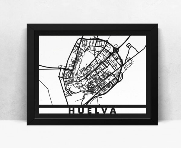 Mapa de madera de Huelva decoración