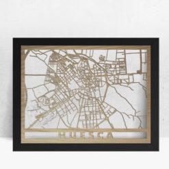 Mapa de madera de Huesca decoración