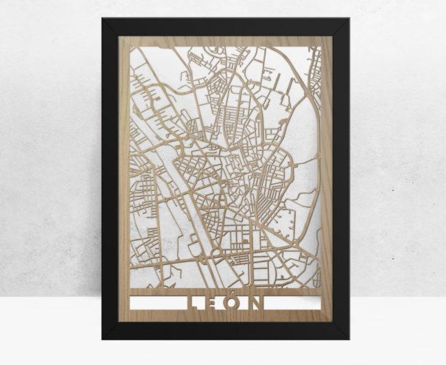Mapa de madera de León decoración