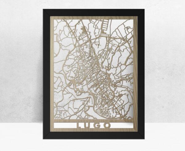 Mapa de madera de Lugo decoración