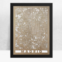 Mapa de madera de Madrid decoración