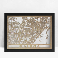 Mapa de madera de Málaga decoración
