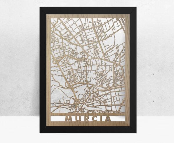 Mapa de madera de Murcia decoración