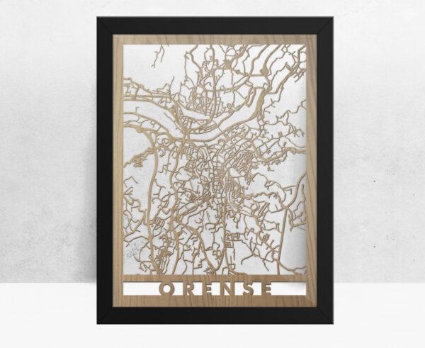 Mapa de madera de Orense decoración