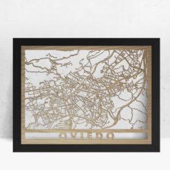 Mapa de madera de Oviedo decoración