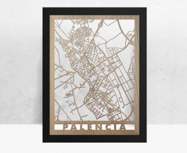 Mapa de madera de Palencia decoración