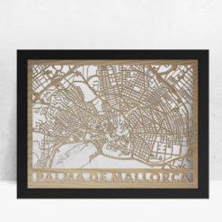 Mapa de madera de Mallorca decoración