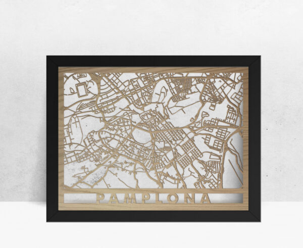 Mapa de madera de Pamplona decoración