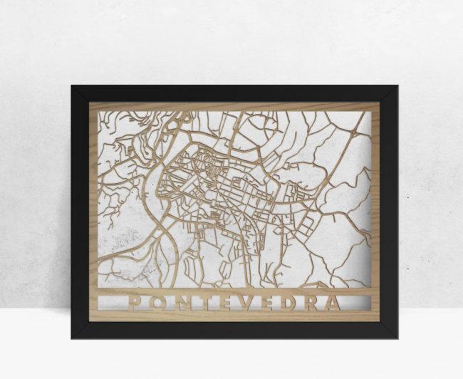 Mapa de madera de Pontevedra decoración