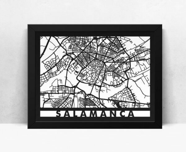 Mapa de madera de Salamanca decoración