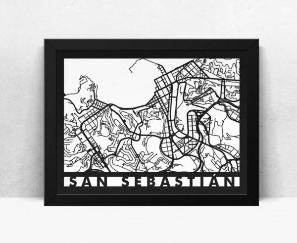 Mapa de madera de San Sebastian decoración
