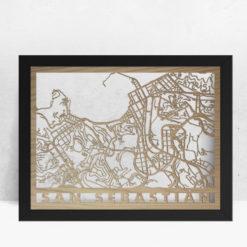 Mapa de madera de San Sebastián decoración