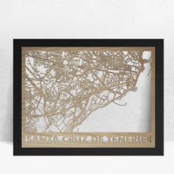 Mapa de madera de Tenerife decoración