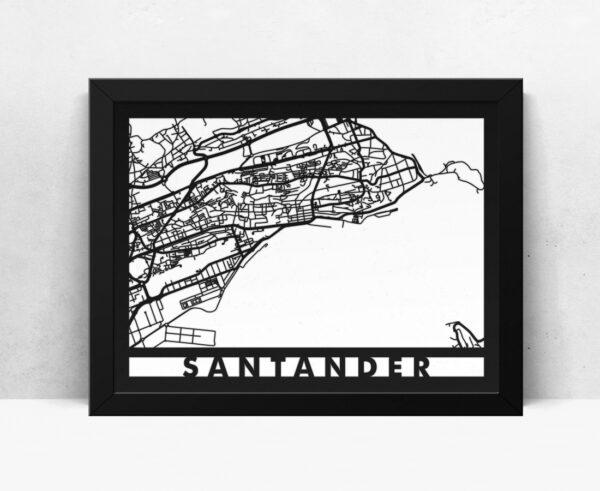 Mapa de madera de Santander decoración