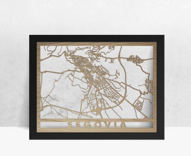 Mapa de madera de Segovia decoración