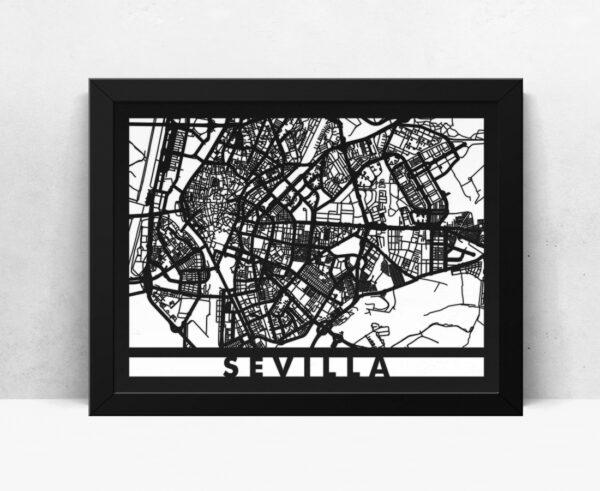 Mapa de madera de Sevilla decoración
