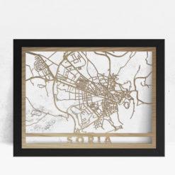 Mapa de madera de Soria decoración