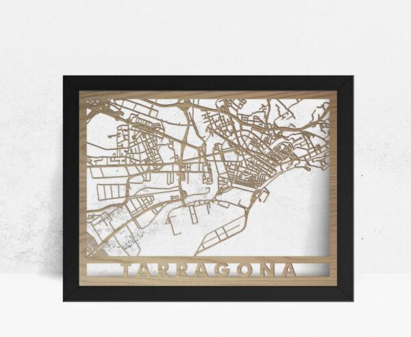 Mapa de madera de Tarragona decoración