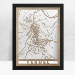 Mapa de madera de Teruel decoración