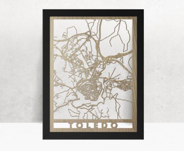 Mapa de madera de Toledo decoración