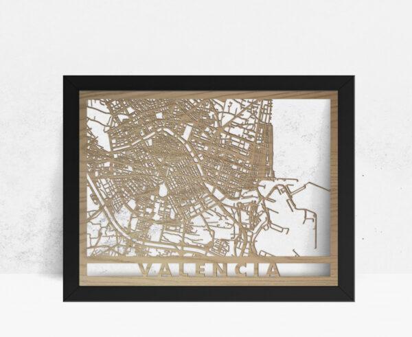 Mapa de madera de Valencia decoración