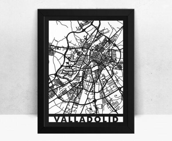 Mapa de madera de Valladolid decoración