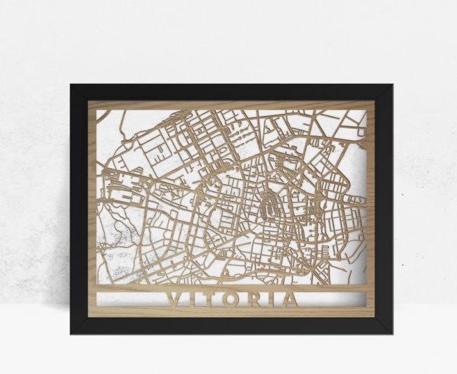 Mapa de madera de Vitoria decoración