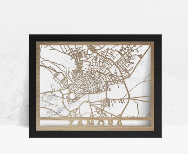 Mapa de madera de Zamora decoración