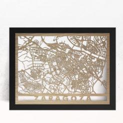 Mapa de madera de Zaragoza decoración