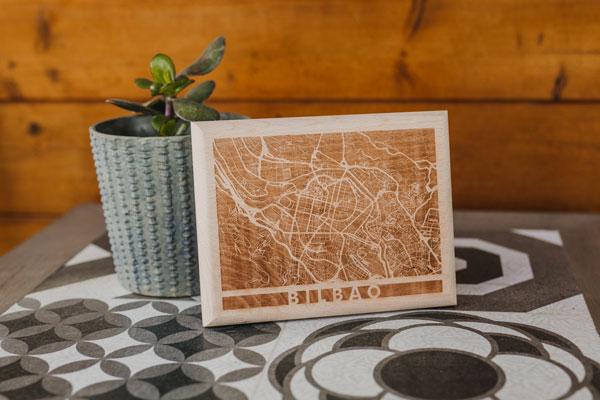 Mapa de madera de Bilbao