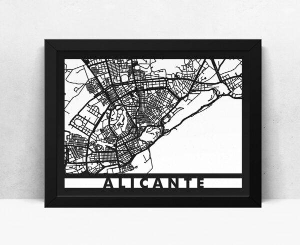 Mapa de madera de Alicante decoración