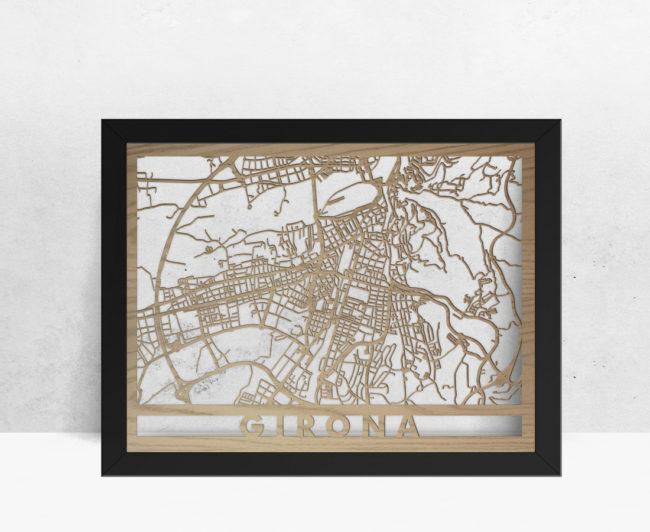 Mapa de madera de Girona decoración