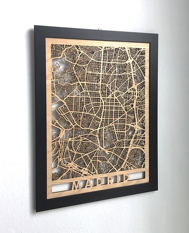 mapa de madera madrid