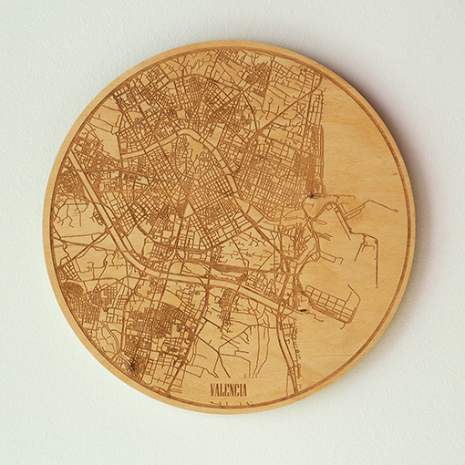 mapa circular de madera
