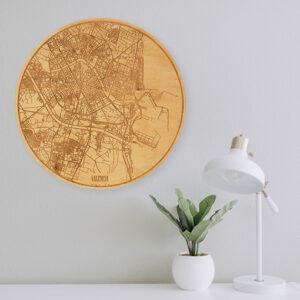 Mapa de madera de Valencia para la pared