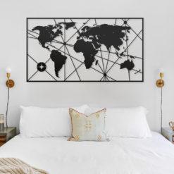Silueta mapa mundi con lineas en forma de rectángulo como decoración pared de habitación.