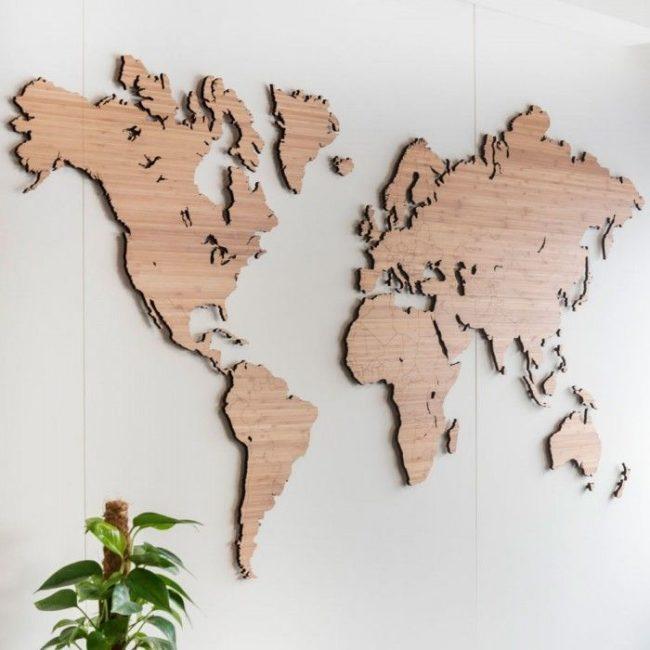 Mapamundi de madera